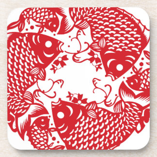 Red Whirling Koi Carp Fish Group S Coaster