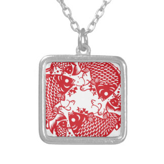 Red Whirling Koi Carp Fish Group S Necklace