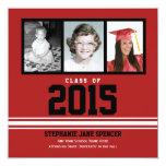 "Red White 2015 Graduation Photos Announcement 5.25"" Square Invitation Card"