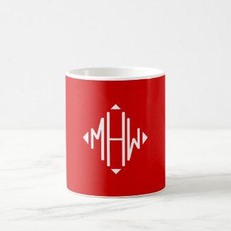 Red White 3 Initials Diamond Shape Monogram Coffee Mug