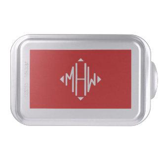 Red White 3 Initials Diamond Shape Monogram Cake Pan