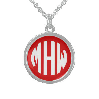 Red White 3 Initials in a Circle Monogram Necklace