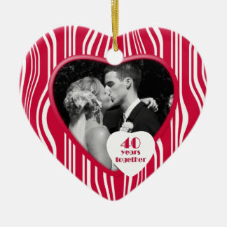 Red & White 40 Years Together Anniversary Ornament
