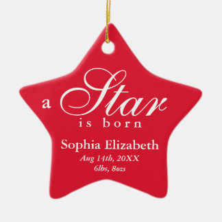 Red white a star is born baby name announcement ceramic ornament
