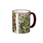 Red White abd Blue Floral Ringer Coffee Mug