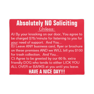 Red White Absolutely No Soliciting Doormat