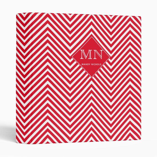 Red & White Abstract Chevron Pattern Monogram