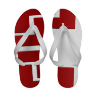 Red White Abstract Summer Flip Flops