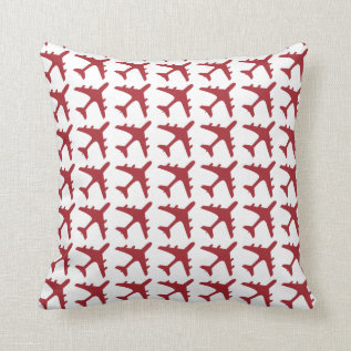Red white airplane pattern decorative pillow at Zazzle