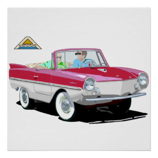 Red-White Amphicar Poster
