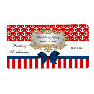 Red White Anchor Stripe Red Bow Party Wine Label
