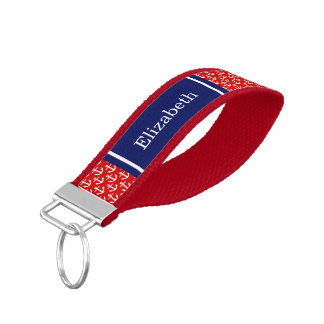 Red, White Anchors Navy Blue Name Monogram Wrist Keychain