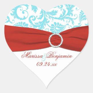 Red, White, and Aqua Damask Heart Shape Sticker