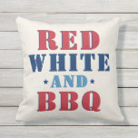 Red White and BBQ Fourth of July Outdoor Pillow