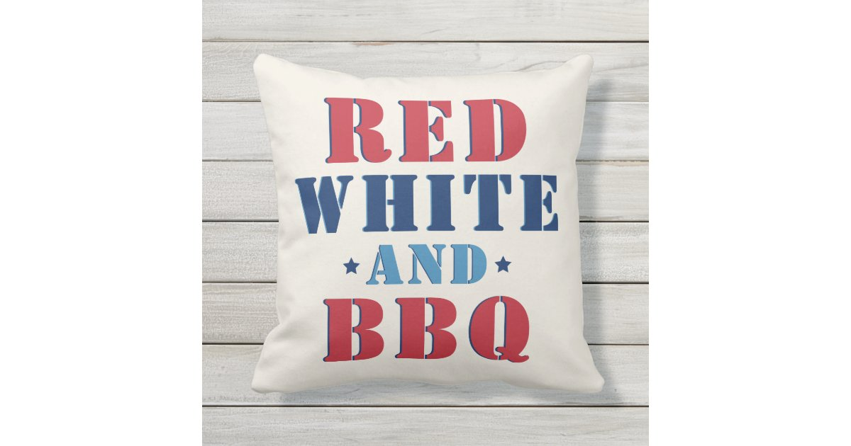 Red White And Bbq Fourth Of July Outdoor Pillow Zazzle Com