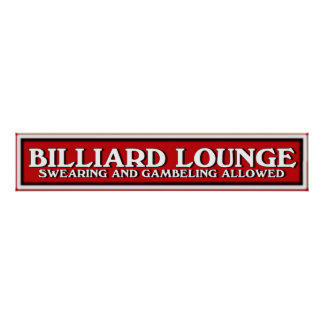 red white and black Billiard Lounge sign