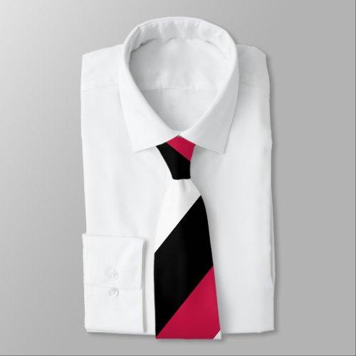 Red White and Black Broad Regimental Stripe Neck Tie