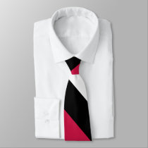 Red White and Black Broad University Stripe Neck Tie