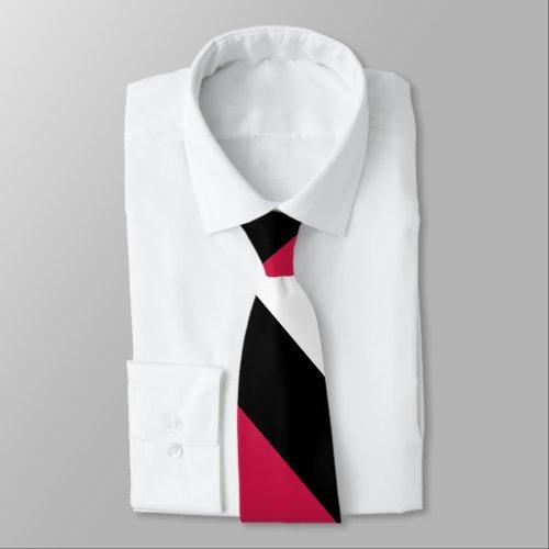 Red White and Black Broad University Stripe Neck Tie