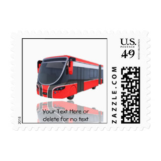 Red White and Black Bus on White Background Stamp