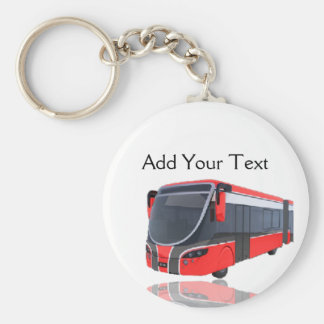 Red White and Black Bus on White Keychain