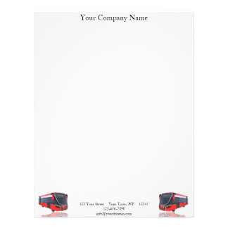 Red White and Black Bus on White Letterhead