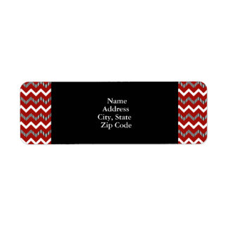 Red, White and Black Chevron Pattern Label