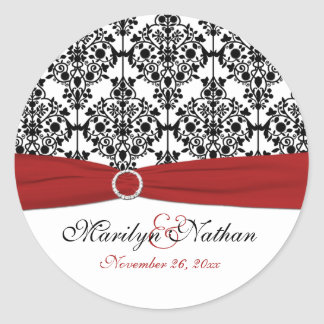 "Red, White, and Black Damask 1.5"" Round Sticker"