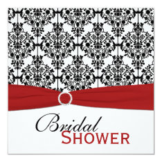 Red, White, And Black Damask Bridal Shower Invite at Zazzle