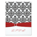 Red, White and Black Damask II RSVP Card