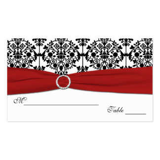 Red, White and Black Damask Placecards Business Card