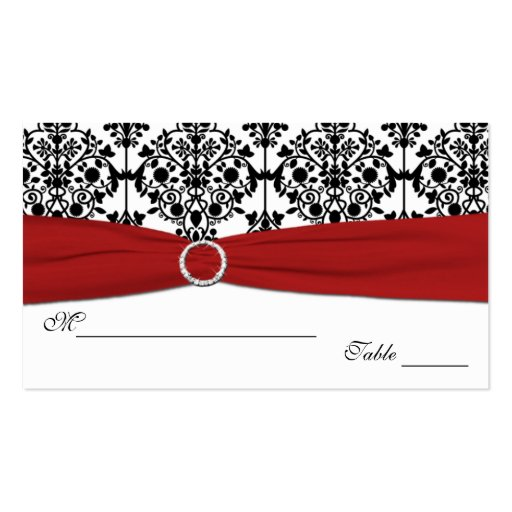 Red, White and Black Damask Placecards Business Card Template