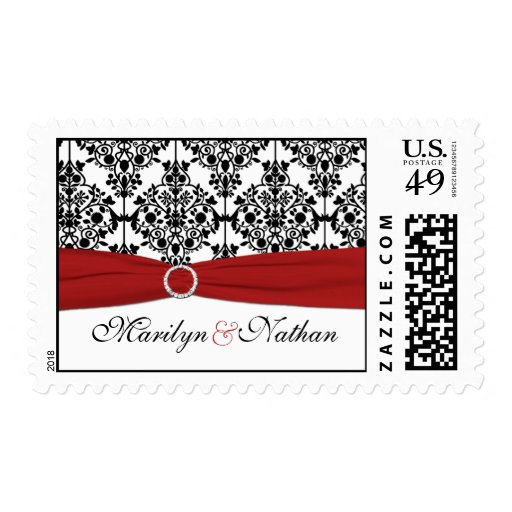 Red, White, and Black Damask Postage