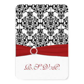 Red, White and Black Damask Reply Card 2