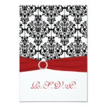 """Red, White and Black Damask Reply Card 2 3.5"""" X 5"""" Invitation Card"""