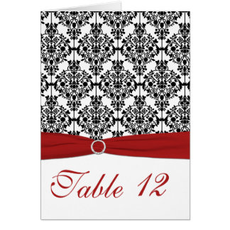 Red, White and Black Damask Table Card