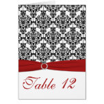 Red, White and Black Damask Table Card Card