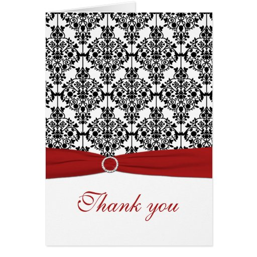 Red, White and Black Damask Thank You Card Cards