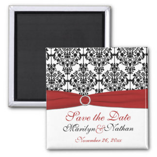 Red, White, and Black Damask Wedding Favor Magnet