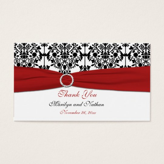 Red White And Black Damask Wedding Favor Tag Zazzle