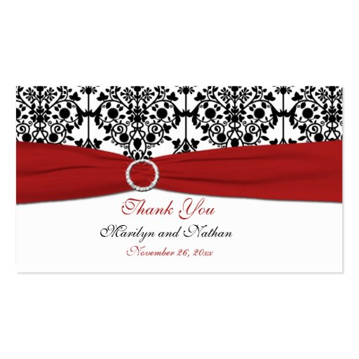 Red, White and Black Damask Wedding Favor Tag Business Cards