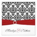 Red, White, and Black Damask Wedding Invitation