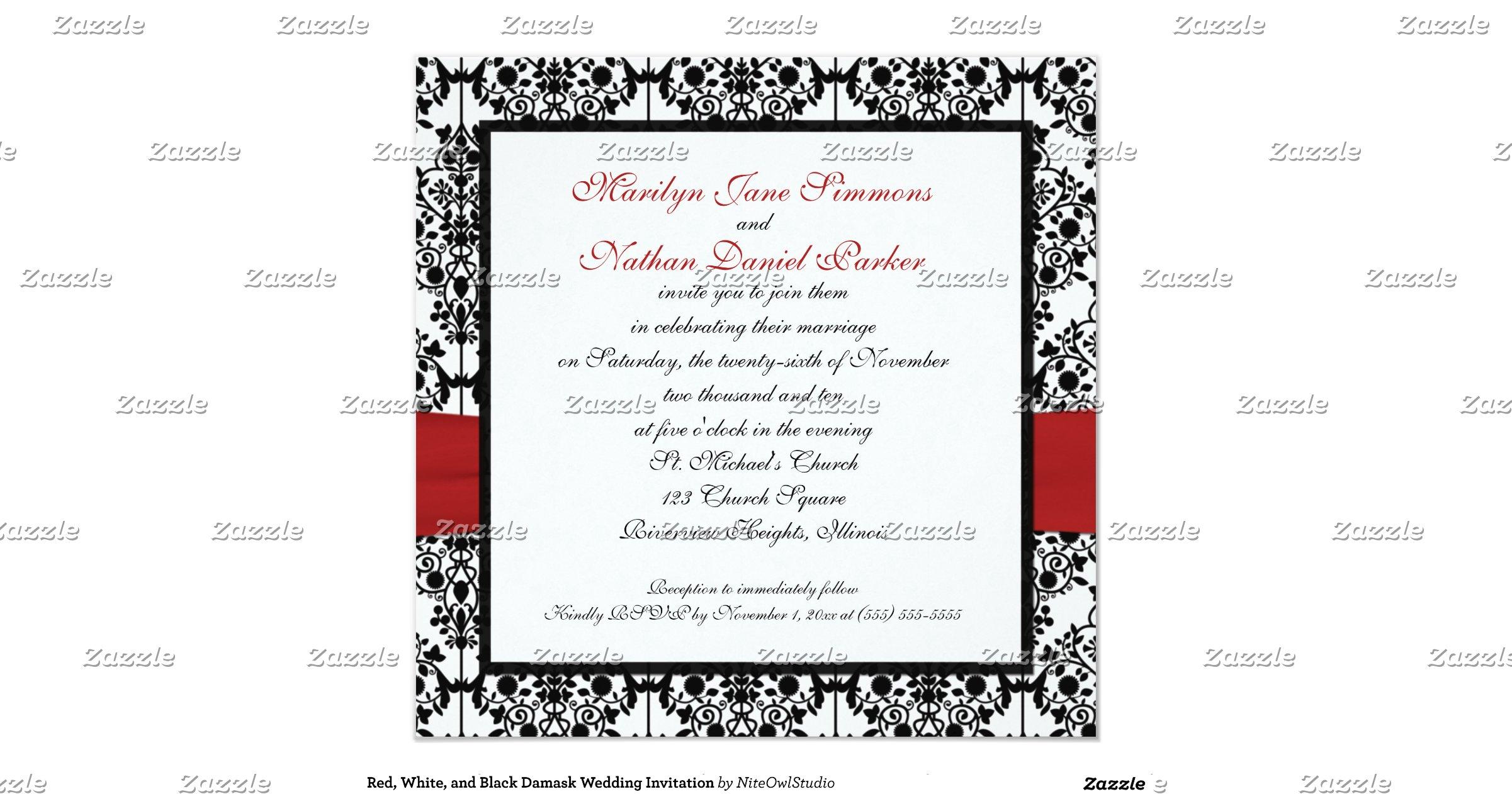 Red White And Black Damask Wedding Invitation R1672f24839f24a51abbbda1db0292204 Zk9yx 1200