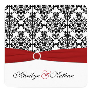 Red, White, and Black Damask Wedding Invitation 2