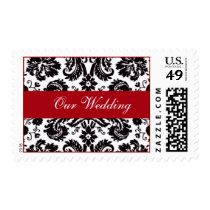 Red White and Black Damask Wedding Invitations Postage