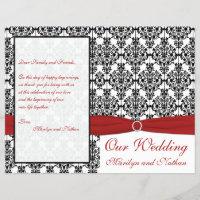 Red, White, and Black Damask Wedding Program