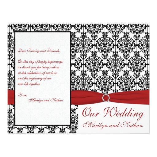 "Red, White, and Black Damask Wedding Program 8.5"" X 11"" Flyer"