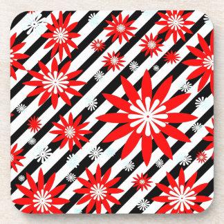 Red White and Black  Flower Design Coaster
