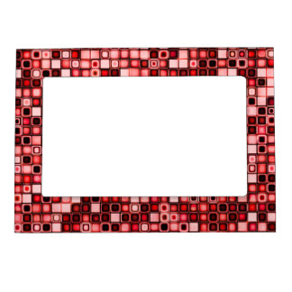 Red, White And Black Funky Retro Tiles Pattern Frame Magnet