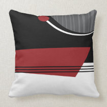 Red White and Black Geometric Pillow